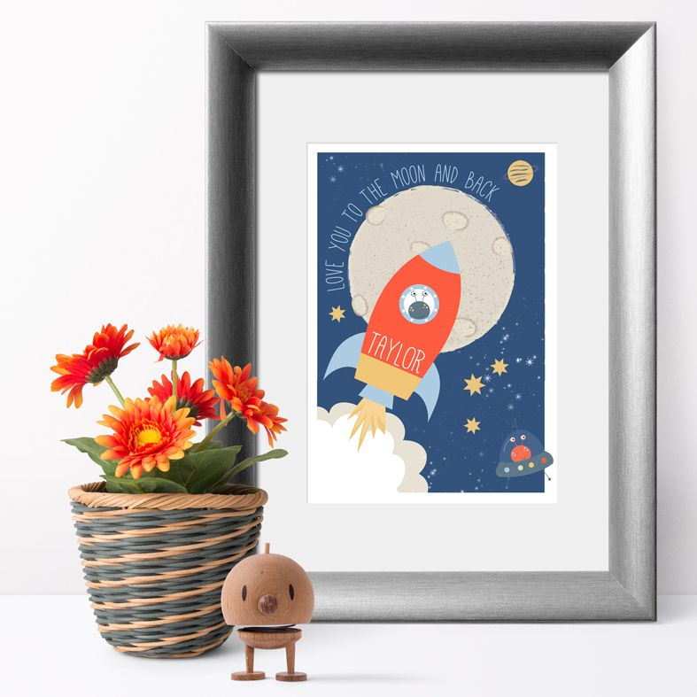 Spaceship personalised name poster print | A delightful range of personalised name prints featuring your baby's name. Lovely #nurserydecor #babygift from PhotoFairytales