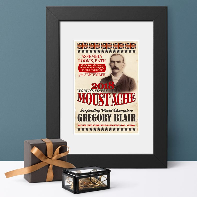 World's Finest Moustache Personalised Vintage Print | the perfect gift for the well groomed moustache wearing gentleman, dandy or hipster, from PhotoFairytales