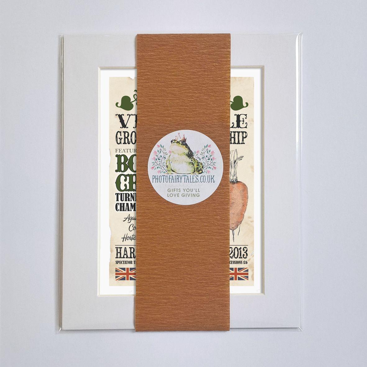 Giant Champion Vegetable Grower Personalised Vintage Print | unique vintage style personalised gift for a keen gardener, veg grower or allotment keeper, from PhotoFairytales #giftforgardener