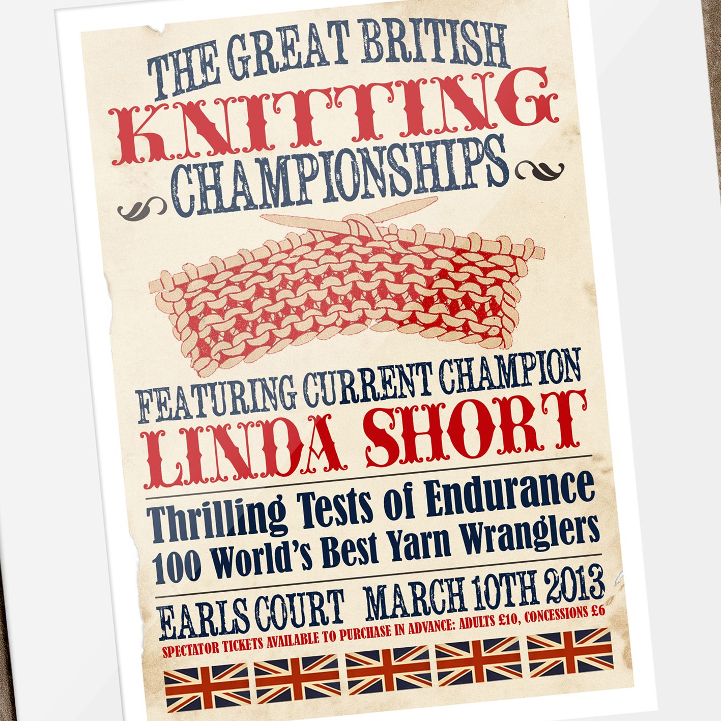 The Great British Knitting Championships Personalised Vintage Print | fun, unique vintage style personalied gift for someone who loves knitting, from PhotoFairytales #knitting #knittinggift