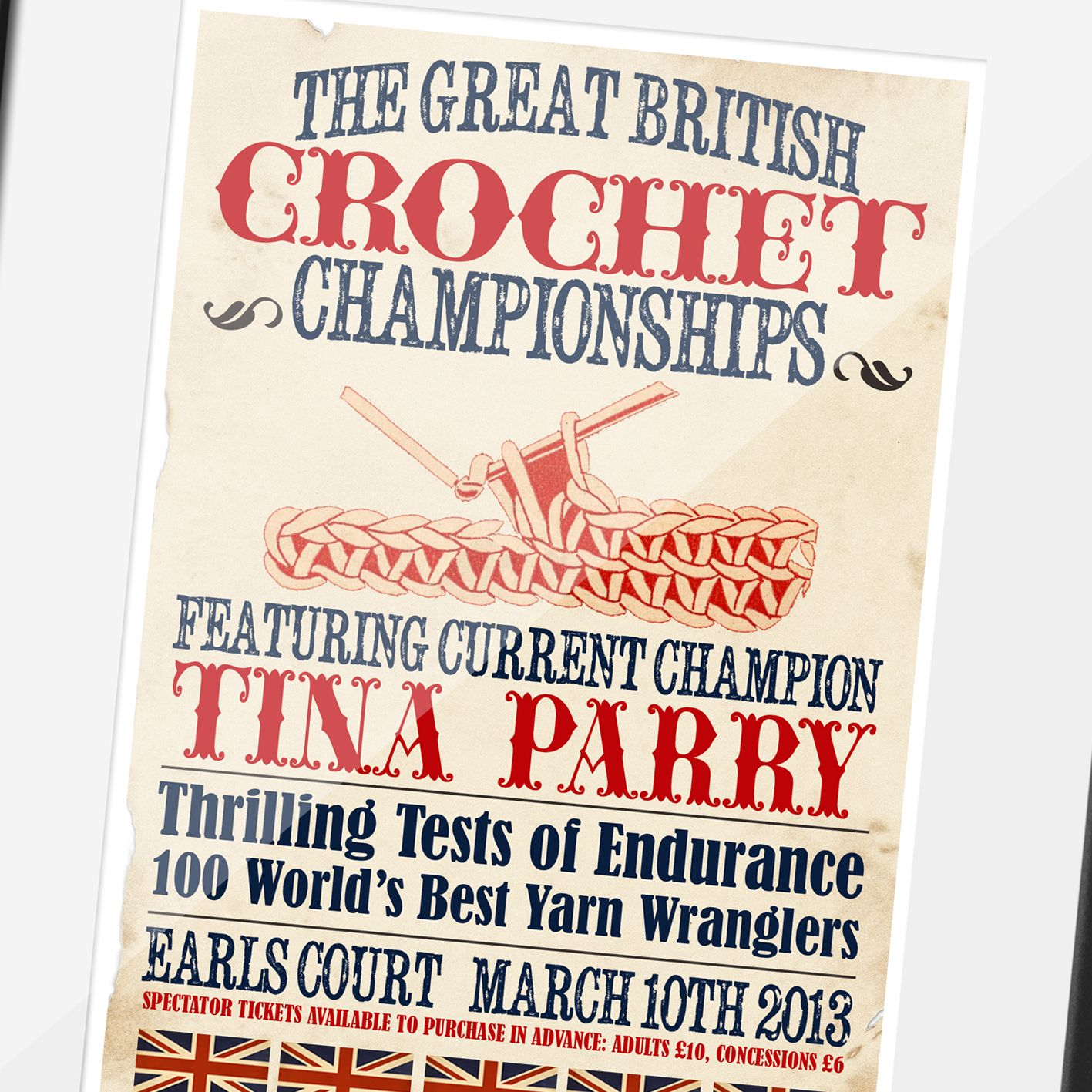 The Great British Crochet Championships Personalised Vintage Print   fun, unique vintage style personalied gift for someone who loves to crochet, from PhotoFairytales #crochet #crochetgift #craftgift