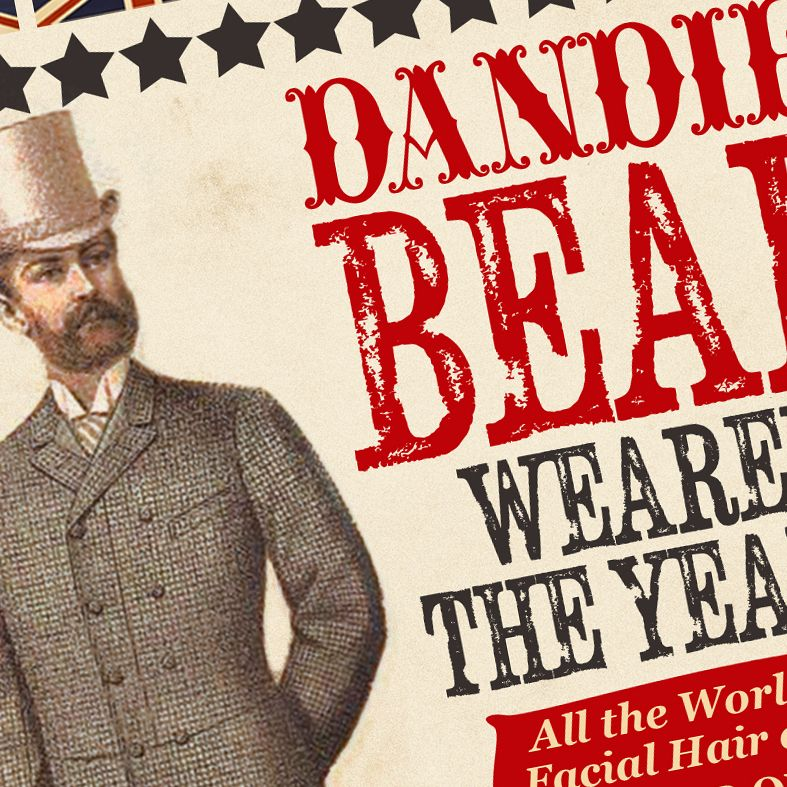The Dandiest Beard Wearer of the Year Personalised Vintage Print | fun, unique vintage style personalied gift idea for the beard wearing gentleman, dandy or hipster! Perfect for birthday or Father's Day gift. #beards #beardgift #fathersdaygift