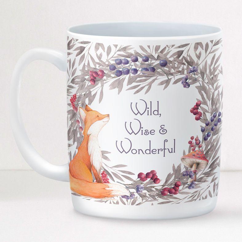 Woodland Fox personalised mug gift | beautifully illustrated and customised mug, created to order, from PhotoFairytales #personalisedmug