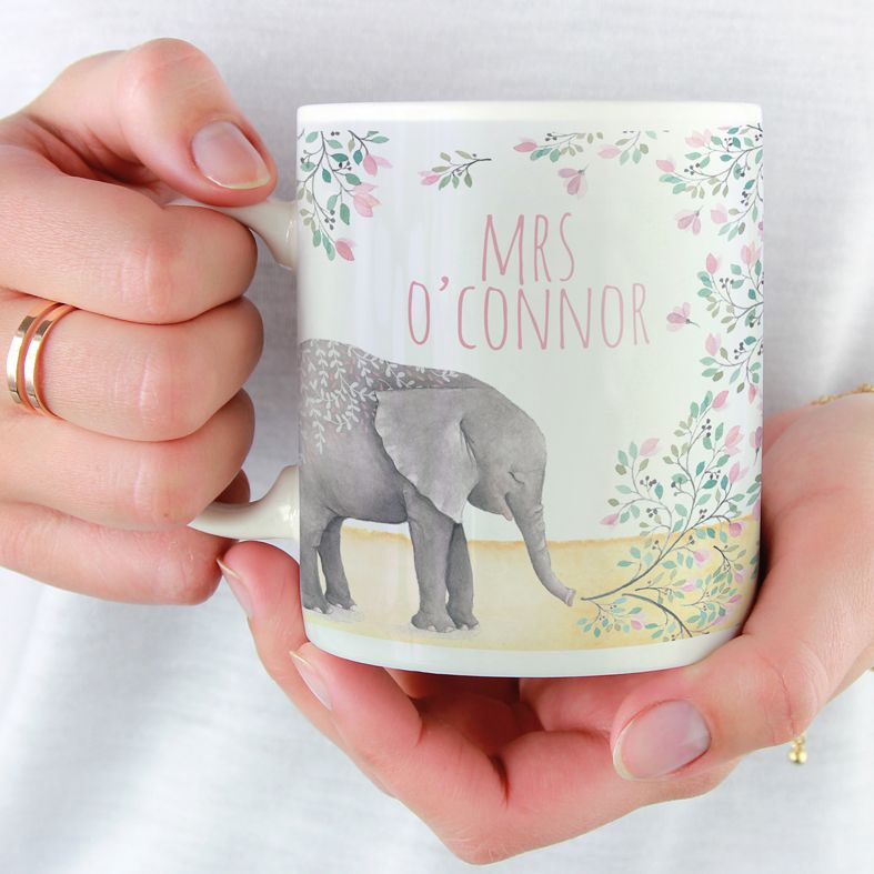 Elephant personalised mug gift  | beautifully illustrated and customised mug, created to order, from PhotoFairytales #personalisedmug