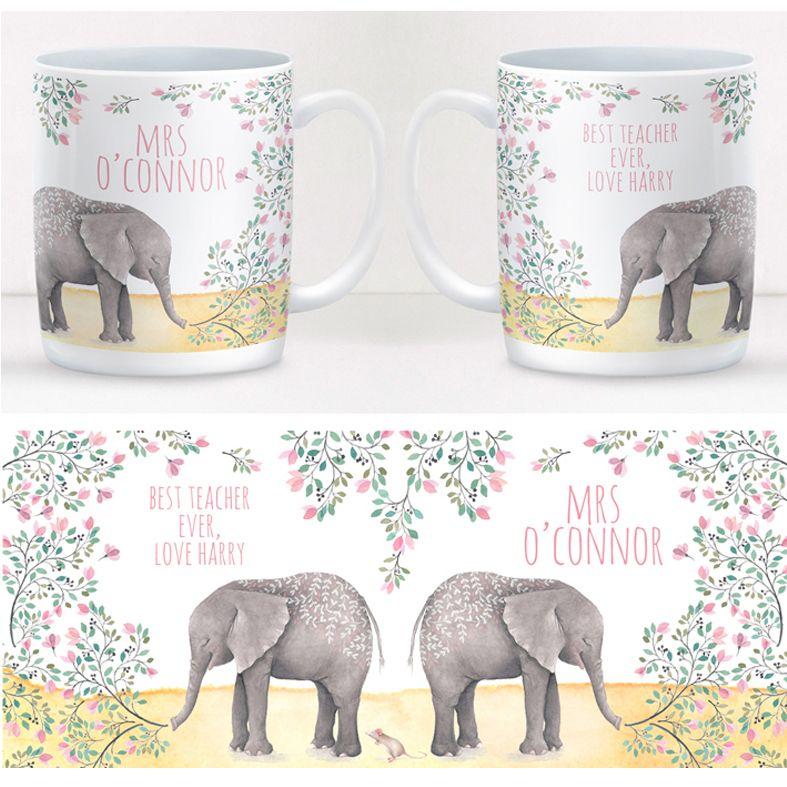 Elephant personalised mug gift  | beautifully illustrated and customised mug, created to order, from PhotoFairytales #personalisedmug