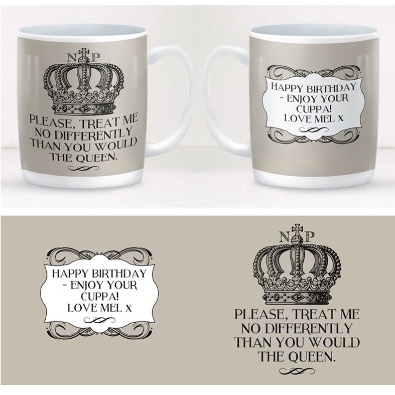 Queen personalised mug gift  | beautifully illustrated and customised mug, created to order, from PhotoFairytales #personalisedmug #royal