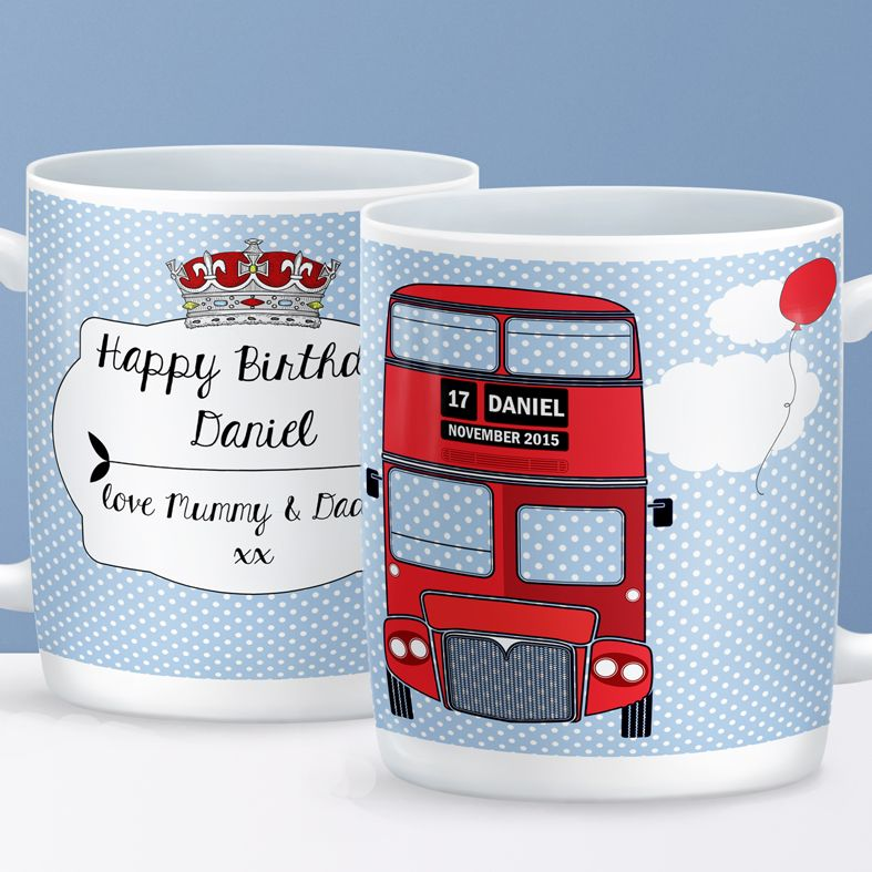 London Bus personalised mug gift  | beautifully illustrated and customised mug, created to order, from PhotoFairytales #personalisedmug #London #British