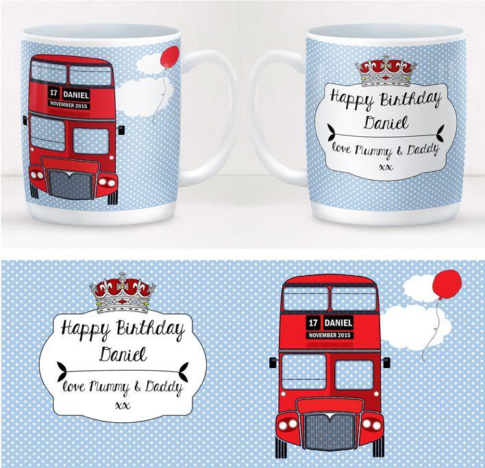 London Bus personalised mug gift  | beautifully illustrated and customised mug, created to order, from PhotoFairytales #personalisedmug #London #British #routemaster