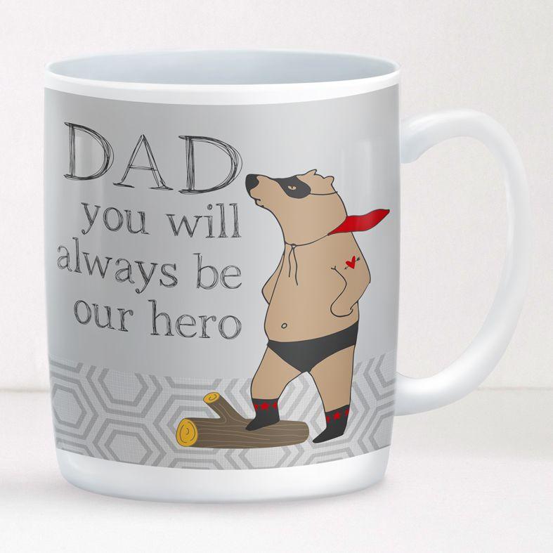 Superbear personalised mug gift  | beautifully illustrated and customised mug, created to order, from PhotoFairytales #fathersdaygift