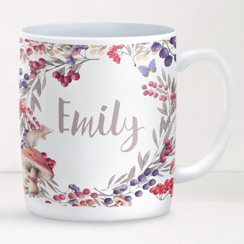 Berries personalised mug gift | beautifully illustrated and customised mug, nature themed gift created to order, from PhotoFairytales #personalisedmug