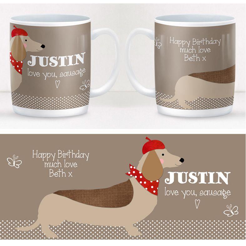 Sausage Dog personalised mug gift | beautifully illustrated and customised mug, created to order, from PhotoFairytales #personalisedmug #dachshund