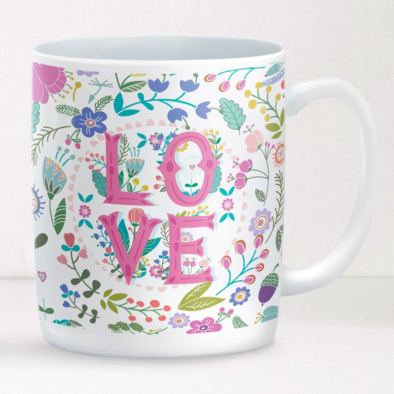 Summer of Love personalised mug gift | beautifully illustrated festival style customised mug with boho style and hippie chic, created to order, from PhotoFairytales #personalisedmug