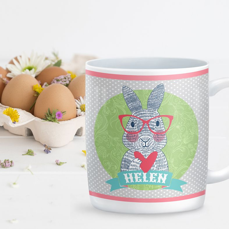 Spectacled Rabbit personalised mug gift | beautifully illustrated and customised mug, created to order, from PhotoFairytales #personalisedmug