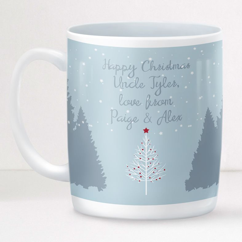 Merry and Bright personalised mug gift | beautifully illustrated and customised Scandi style mug, created to order, from PhotoFairytales #personalisedmug #personalisedChristmas