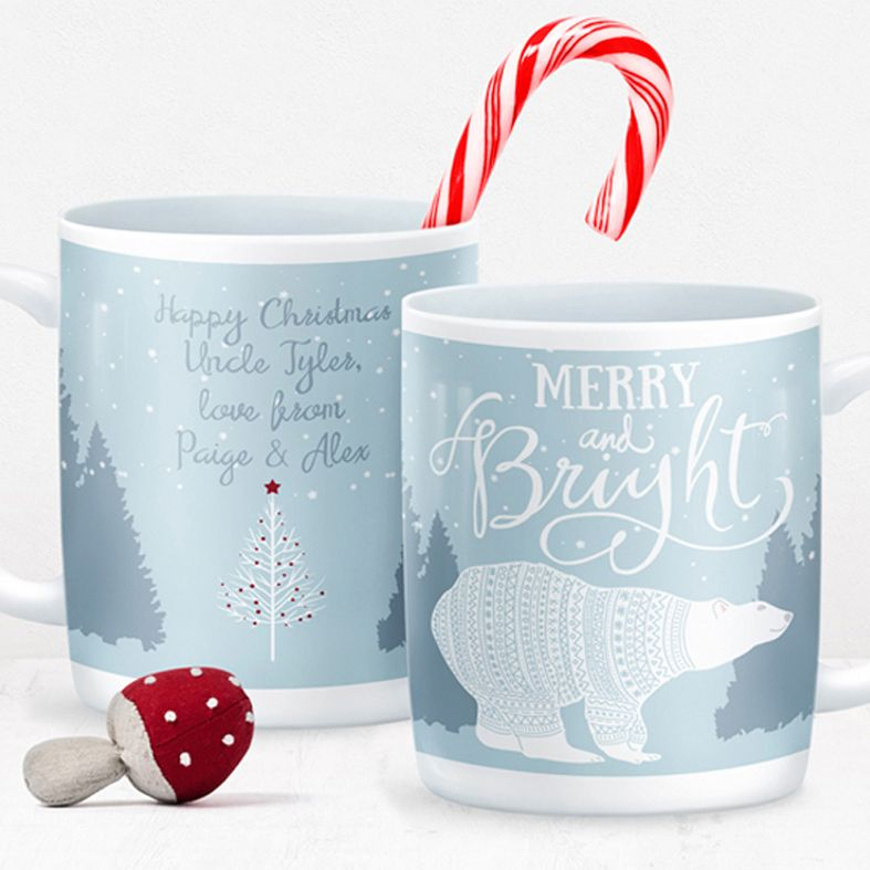Merry and Bright personalised mug gift | beautifully illustrated and customised mug, created to order, from PhotoFairytales #personalisedmug #personalisedChristmas