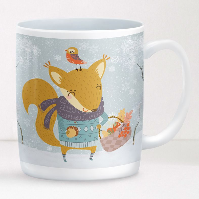 Winter Squirrel personalised mug gift | beautifully illustrated and customised mug, created to order, from PhotoFairytales #personalisedmug #personalisedChristmas