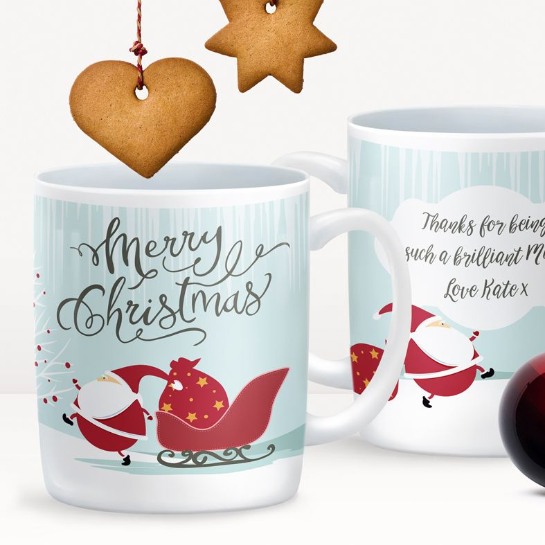 Santa personalised mug gift | beautifully illustrated and customised mug, created to order, from PhotoFairytales #personalisedmug #personalisedChristmas