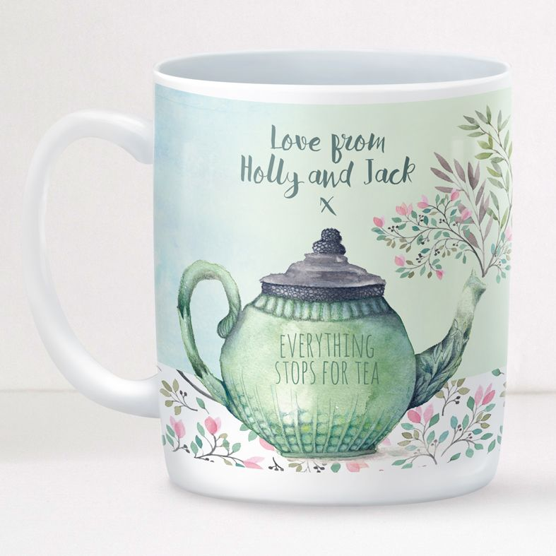 Everything Stops for Tea personalised mug gift  | beautifully illustrated and customised mug, created to order, from PhotoFairytales #personalisedmug
