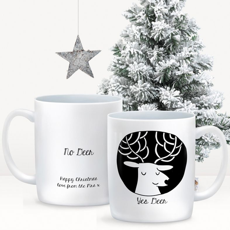 Yes Deer personalised mug gift  | beautifully illustrated and customised mug, created to order, from PhotoFairytales #anniversarygift #valentinegift