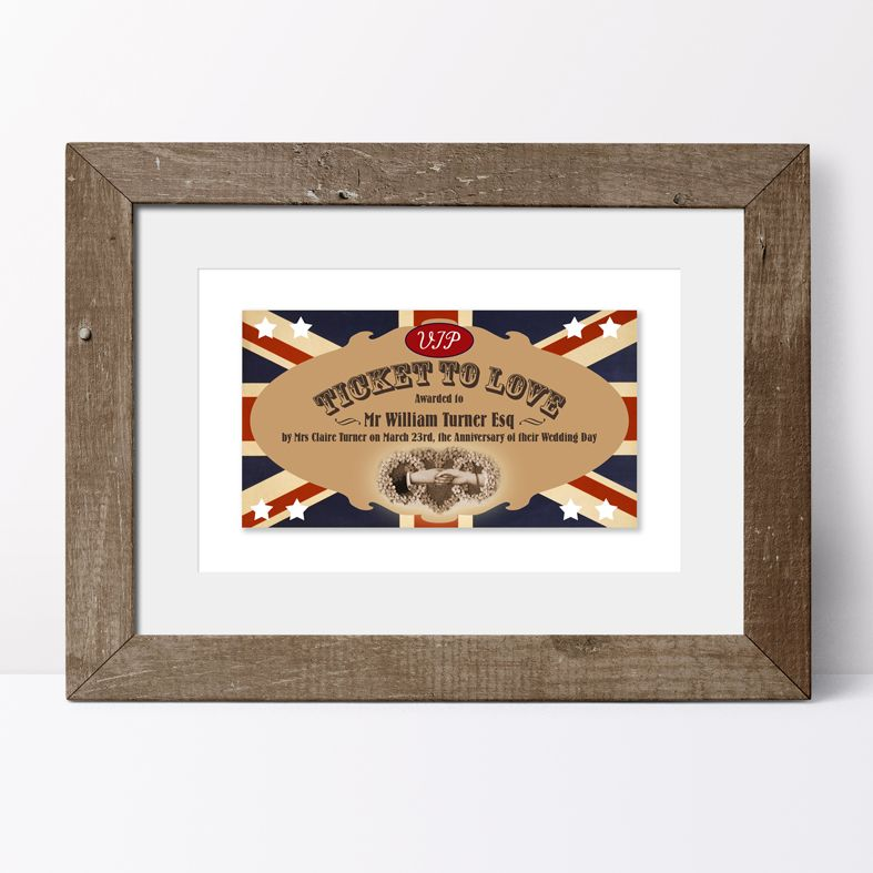 Personalised Ticket to Love print | keepsake gift, unique personalised wall art, from PhotoFairytales #romanticgift #Valentinegift