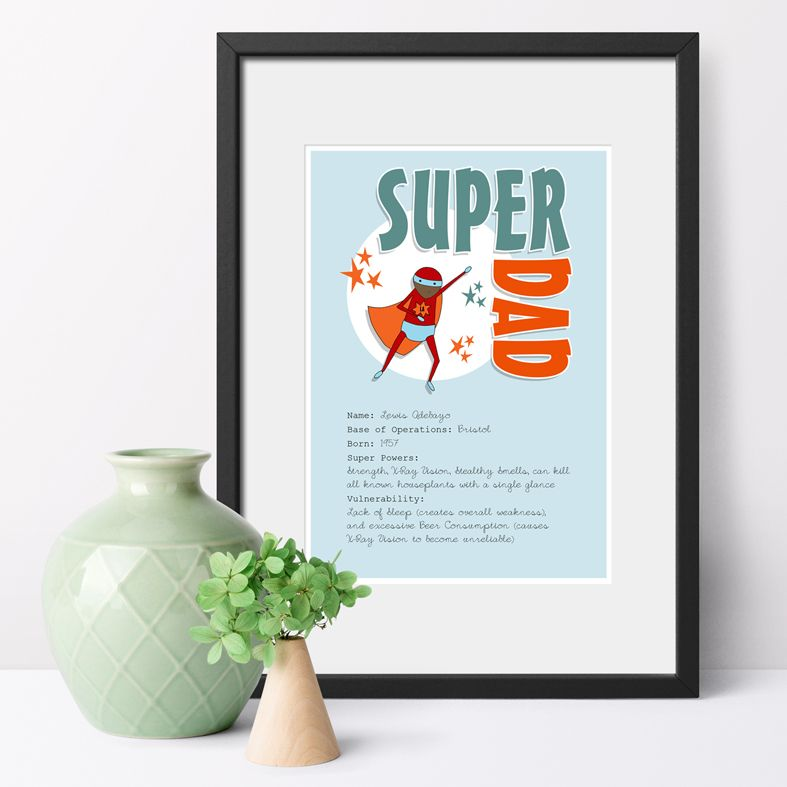Personalised Superhero portrait prints | Fun, bespoke wall art featuring your loved one's super powers! Perfect gift for Father's Day or Mother's Day, from PhotoFairytales.
