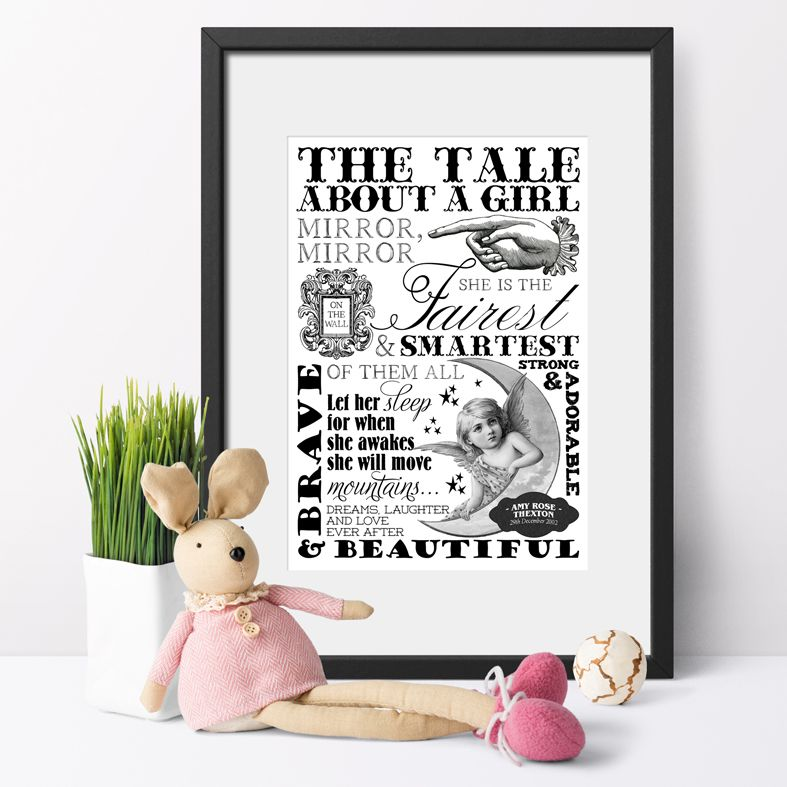 Personalised word art typographic print for baby | monochrome nursery print | personalised baby gifts from PhotoFairytales