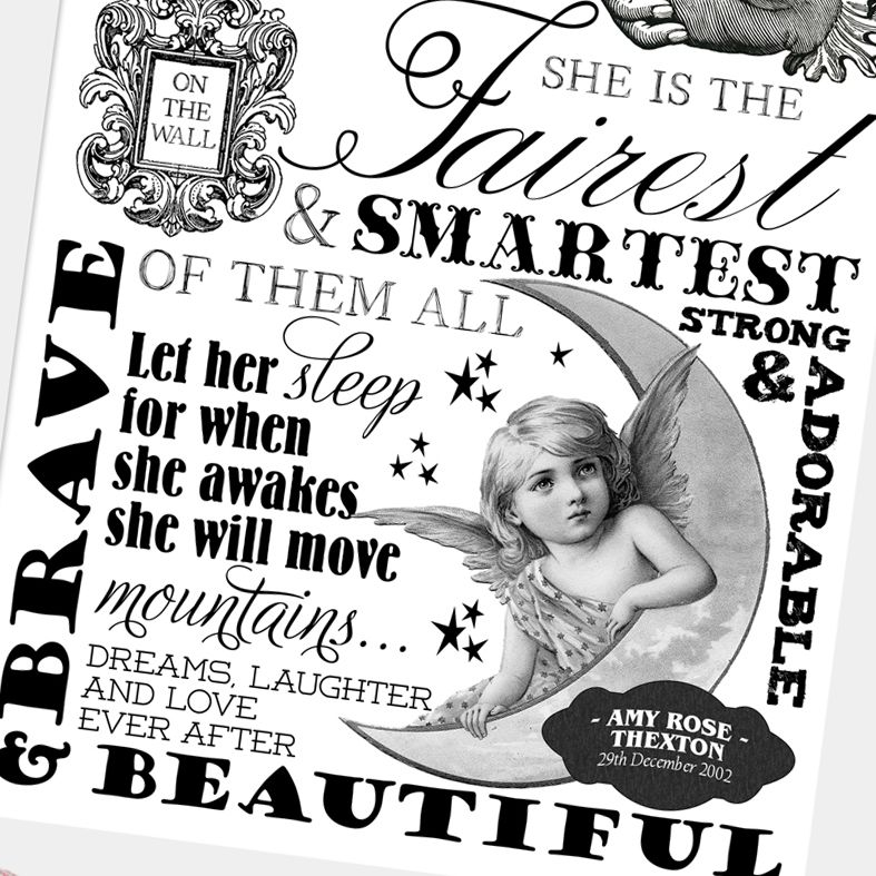 Black and White Nursery Art | Stylish personalised word art typography prints for a child's bedroom or nursery with a timeless vintage feel. Delightful customised monochrome nursery decor from PhotoFairytales.