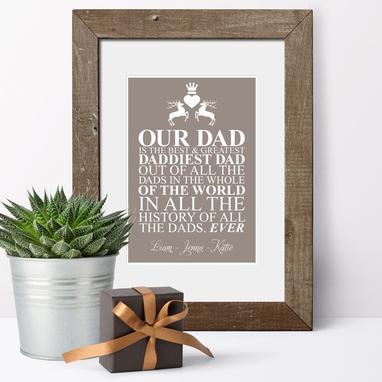 Best Dad in the World personalised Fathers Day gift | bespoke Father's Day print available in a range of colours, perfect gift for dad or grandad on Father's Day, birthday or Christmas, from PhotoFairytales