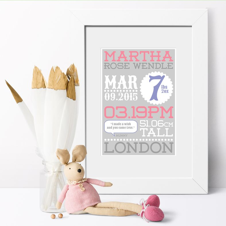 Personalised Baby Birth Stats Prints | Beautiful personalised birth statistics prints, custom made to order to celebrate the arrival of your baby! Delightful personalised nursery wall art, lovely christening gift idea. From PhotoFairytales.