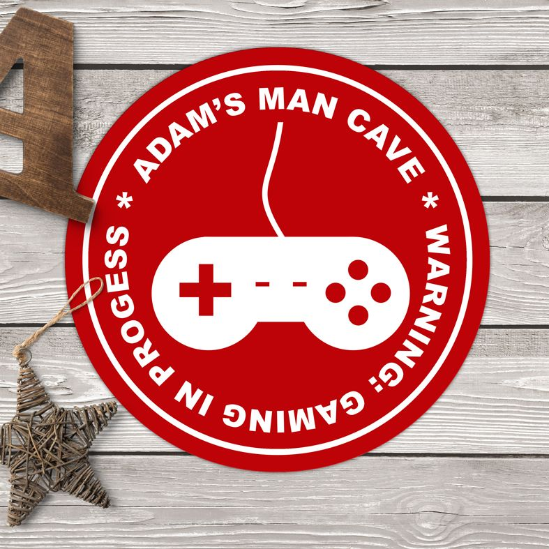 Personalised Computer Game Wall Sign   The ideal gift for any gamer or teenager! Bespoke gaming wall plaque, personalised to order in a range of colours.  Custom made round signs and plaques for teen's bedroom, the games room or man cave. From PhotoFairytales.