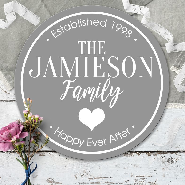 Personalised Wall Plaques & House Signs | Custom made round signs and plaques for home or garden. Interior or exterior use, range of colours and designs. Unique home decor gift for many occasions: wedding, birthday, Christmas and more. From PhotoFairytales.
