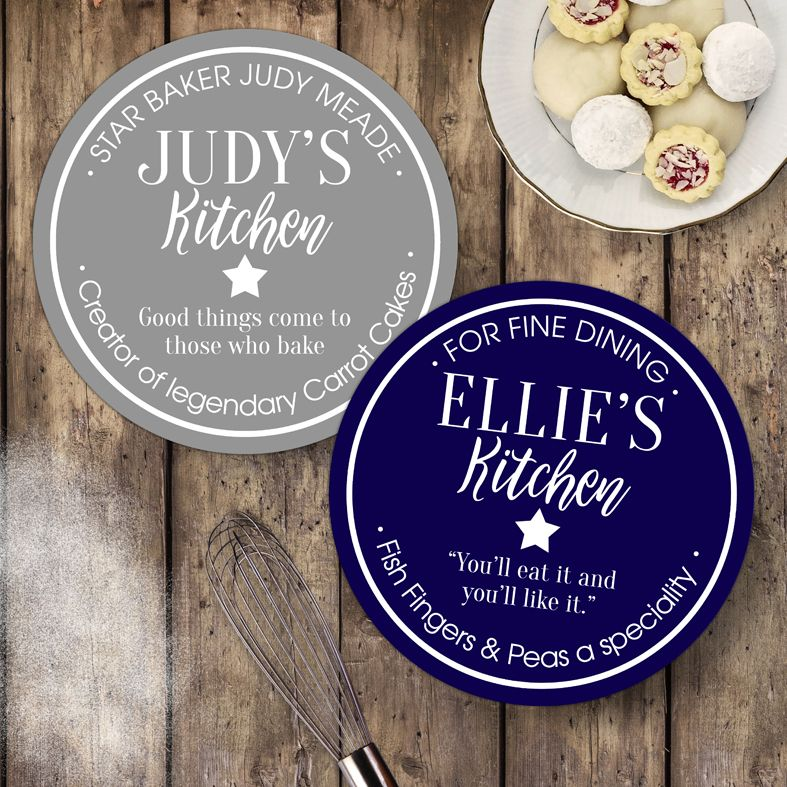 Personalised Kitchen Wall Sign   Fun bespoke gift for cook, baker or food lover. Custom made round kitchen plaques and signs. Range of colours and designs. From PhotoFairytales.