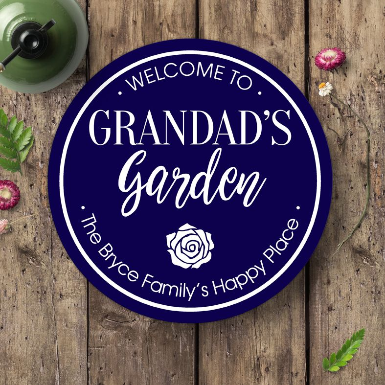 Personalised Garden Sign Plaque   Delightful gift for a gardener, robust exterior sign. Made to order in a range of colours. Custom made round signs and plaques for home or garden. From PhotoFairytales.