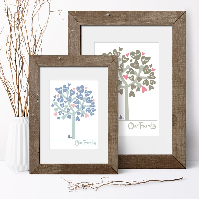 Personalised Family Tree Prints | Custom made prints of your family tree. Unique bespoke and personalised Family Tree Print, created uniquely for your family. A thoughtful memento and a delightful personal family gift idea, from PhotoFairytales. #familytree #personalisedfamilygift