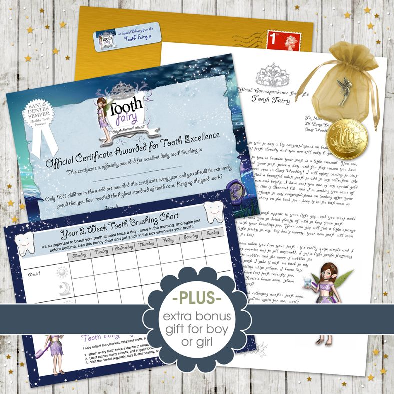 PERSONALISED LETTER FROM THE TOOTH FAIRY WITH CERTIFICATE AND ENVELOPE GIRL
