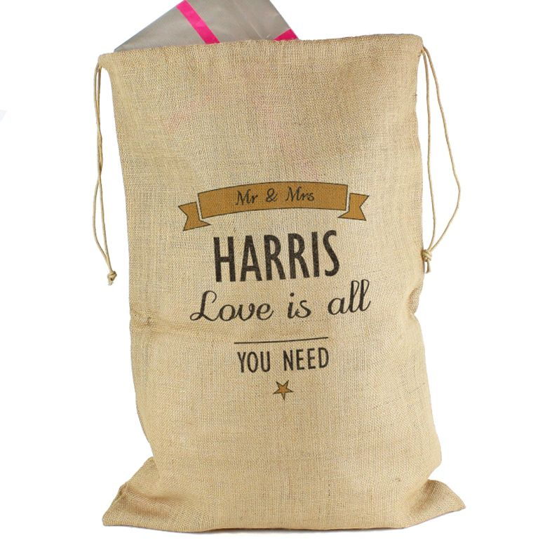 Personalised Hessian Wedding Gift Sack | pretty hessian Personalised Wedding Gift Sacks, perfect for cards & gifts on your wedding day or anniversary party. Ideal for rustic farmhouse barn wedding. Fast free UK delivery. #weddingsacks #barnwedding #farmhousewedding #bohowedding #rusticwedding