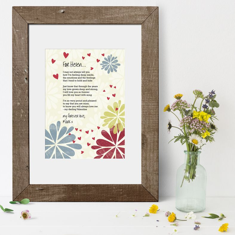 Personalised Poem Art Prints| custom designed love poem print designs. Keep the featured love poem or request your own special wording, poetry or song lyrics. A truly thoughtful and touching romantic gift idea, from PhotoFairytales #personalisedpoem #poemart #poemprint