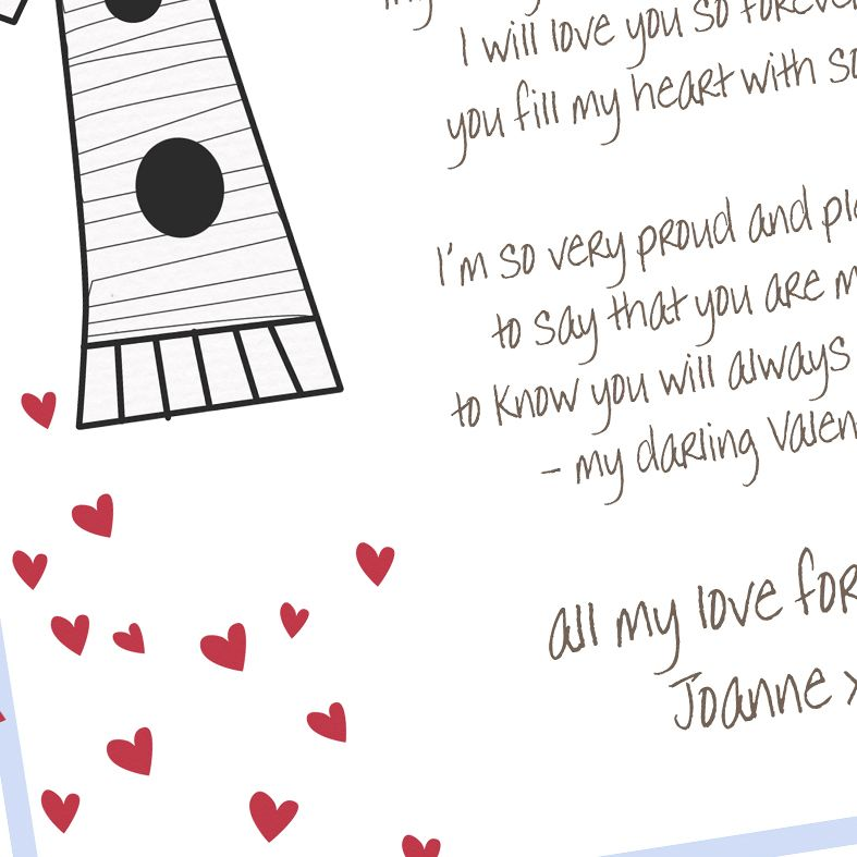 Personalised Love Birds Poem Art Print| custom designed love poem print. Keep the featured love poem or request your own special wording, poetry or song lyrics. A truly thoughtful and touching romantic gift idea, from PhotoFairytales #personalisedpoem #personalisedvalentine #poemprint