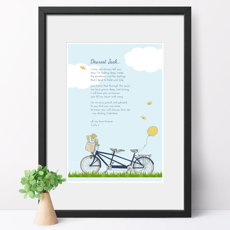 Personalised Bicycle Built for Two Poem Art Print| custom designed love poem print. Keep the featured love poem or request your own special wording, poetry or song lyrics. A truly thoughtful and touching romantic gift idea, from PhotoFairytales #personalisedpoem #poemart #poemprint
