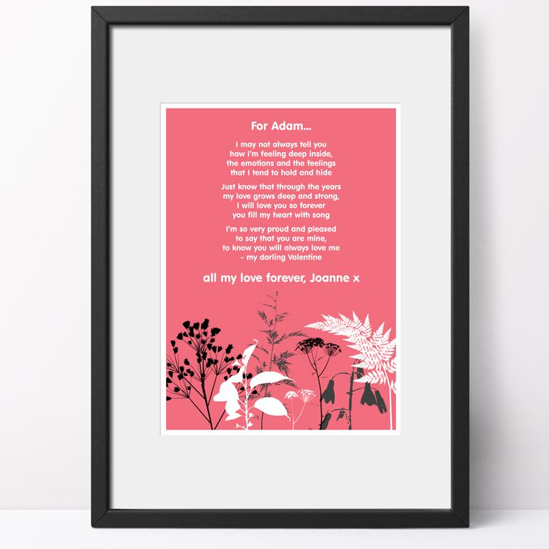 Personalised Nature Poem Art Print| custom designed love poem print. Keep the featured love poem or request your own special wording, poetry or song lyrics. A truly thoughtful and touching romantic gift idea, from PhotoFairytales #personalisedpoem #personalisedvalentine #poemprint