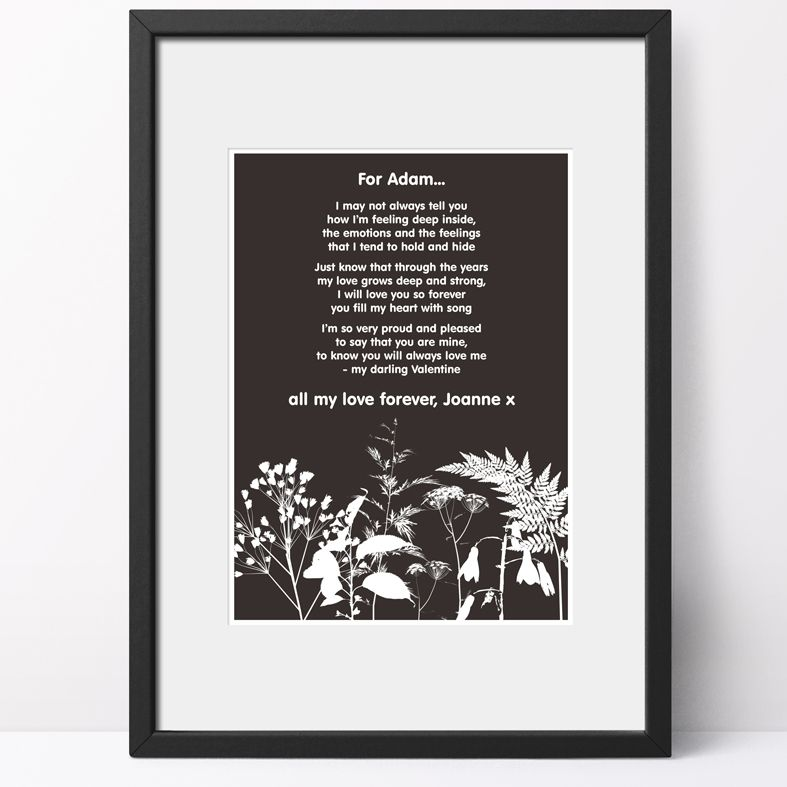 Personalised Nature Poem Art Print  custom designed love poem print. Keep the featured love poem or request your own special wording, poetry or song lyrics. A truly thoughtful and touching romantic gift idea, from PhotoFairytales #personalisedpoem #personalisedvalentine #poemprint