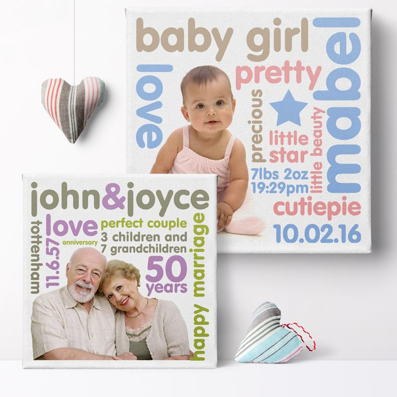 Personality Photo Canvas Prints | stunning unique canvas wall art, featuring your own photo and words creating colourful typography word art in any colour. Truly unique and individual personalised art from PhotoFairytales #canvasart #personalisedcanvas