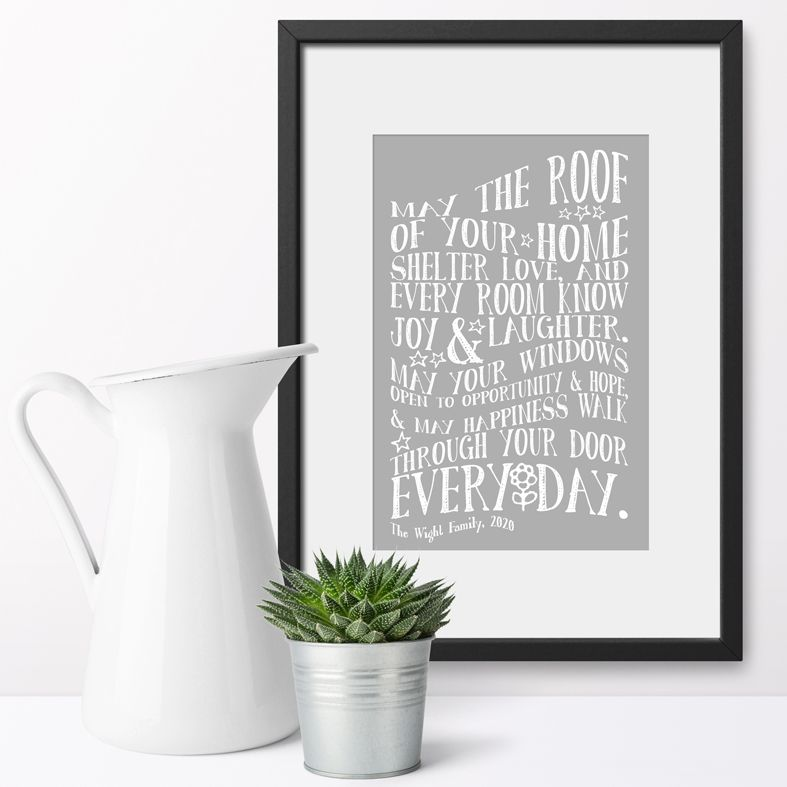 Personalised New Home Art Print | Delightful personalised New Home prints made to order, an ideal moving home gift. Great housewarming gift idea for friends or family, or a finishing touch for your own home. #personalisedhome #housewarminggift #newhomegift