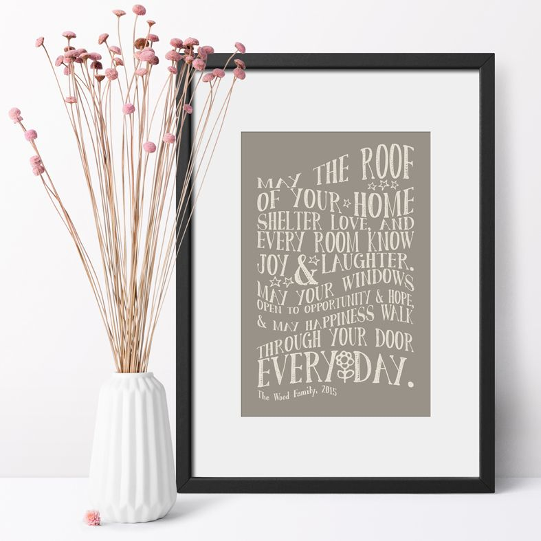 Typographic Personalised New Home Art Print | Delightful personalised New Home prints made to order, an ideal moving home gift. Great housewarming gift idea for friends or family, or a finishing touch for your own home. #personalisedhome #housewarminggift #newhomegift