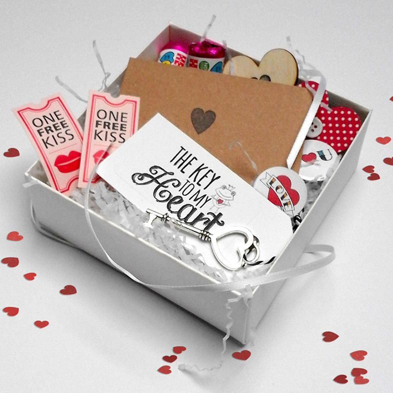 Personalised Valentine Gift Box Hamper | romantic gift hamper, made to order, full of love treats for him or her. Valentine, anniversary or birthday.