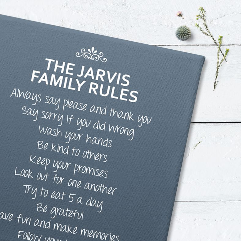 Personalised Family Rules Canvas Prints | quality customised canvas wall art, available in any colour, free UK P&P, PhotoFairytales