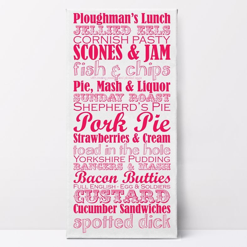 Great British Dishes Canvas Prints | unique, quality customised canvas wall art, kitchen art, food art,  food lover gift, free UK P&P, PhotoFairytales