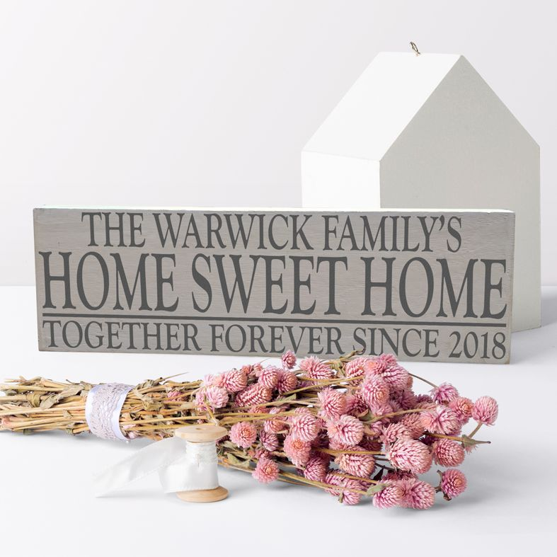 Home Sweet Home Personalised Bespoke Wooden Typography Sign | handmade wooden signs and plaques from PhotoFairytales