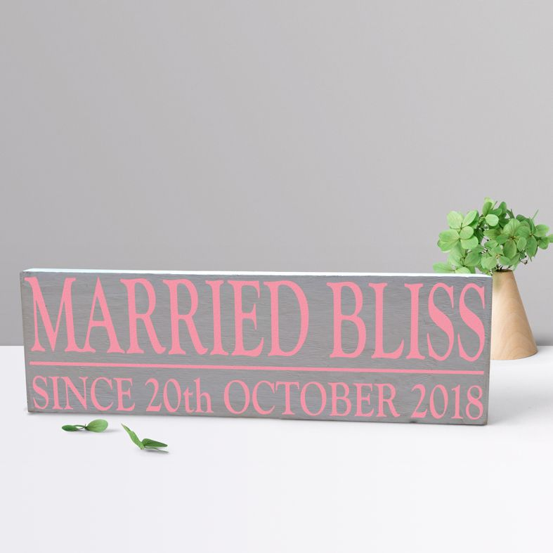 Married Bliss Personalised Bespoke Wooden Typography Sign | handmade wooden signs and plaques from PhotoFairytales