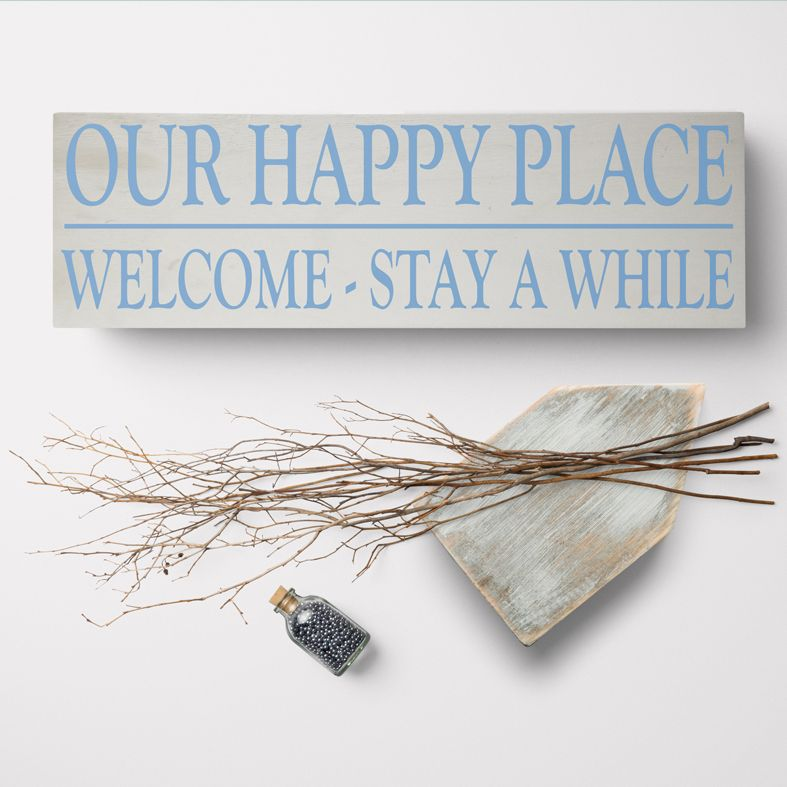Our Happy Place Bespoke Wooden Typography Sign | handmade wooden signs and plaques from PhotoFairytales